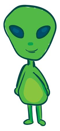 A happy green alien with blue eyes, vector, color drawing or illustration.
