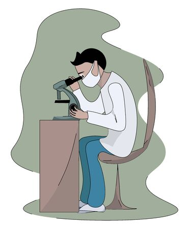 Microbiologist working, illustration, vector on white background.