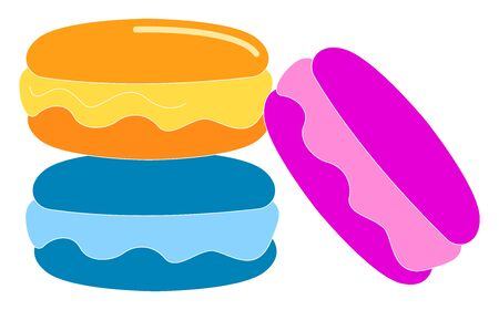 Colorful biscuits, illustration, vector on white background.