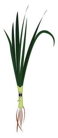 A cartoon of a green onion, vector, color drawing or illustration. Ilustração
