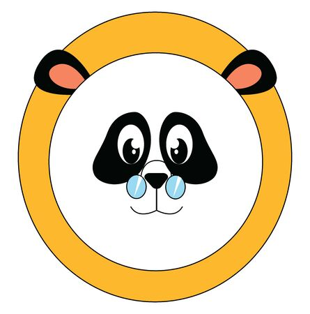 Panda wearing glasses, illustration, vector on white background.