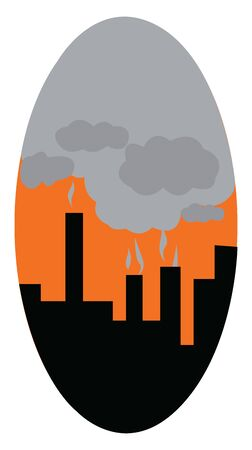 An industrial city covered in smoke coming from factories, vector, color drawing or illustration.