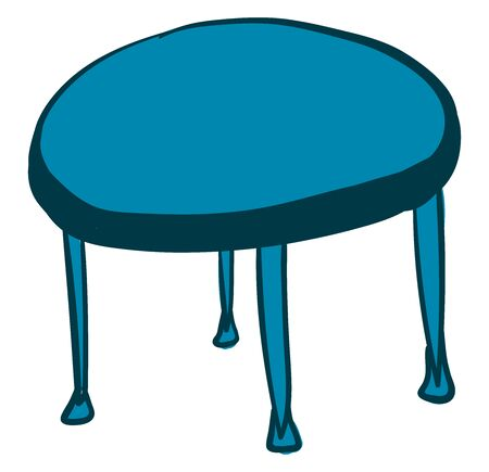 Blue round table, illustration, vector on white background.