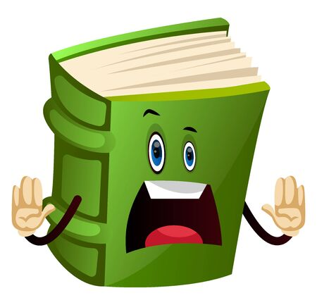 Cartoon book character is feeling upset, illustration, vector on white background.