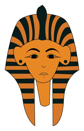 An ancient Egyptian Sarcophagus coffin in brown, vector, color drawing or illustration.