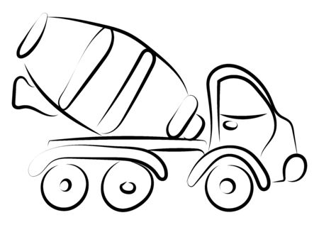 Concrete mixer drawing, illustration, vector on white background.