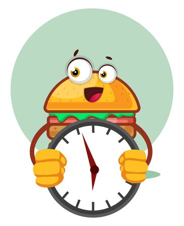 Burger is holding a clock, illustration, vector on white background. Archivio Fotografico - 132791218