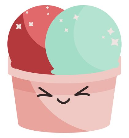 Cute colorful ice cream, illustration, vector on white background.