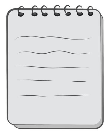 A cartoon of a spiral notebook, vector, color drawing or illustration.