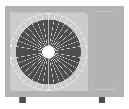 Grey air conditioner, illustration, vector on white background.