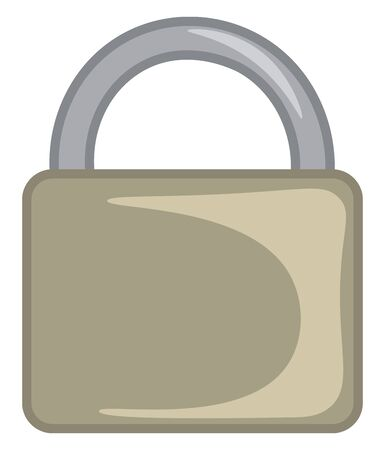 A heavy duty olive colored padlock, vector, color drawing or illustration.