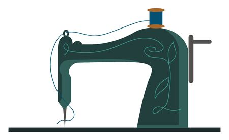A smart new sewing machine with blue thread, vector, color drawing or illustration. Иллюстрация