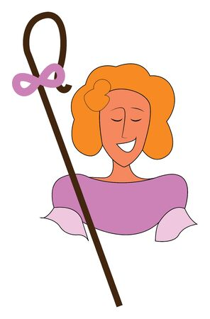 A sharpness with a long stick with purple bow on it, vector, color drawing or illustration.