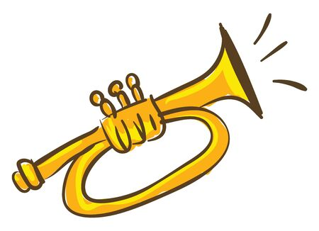 A yellow trumpet instrument which is blowing, vector, color drawing or illustration.