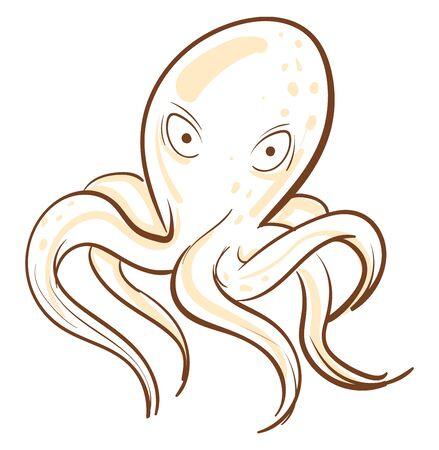 A cartoon of an octopus with staring eyes, vector, color drawing or illustration.