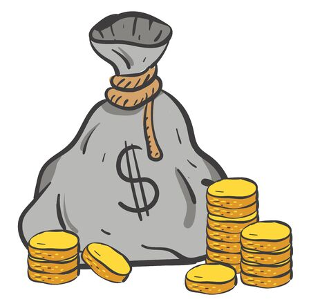 A money bag and a gold coins, vector, color drawing or illustration.