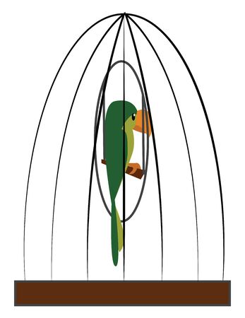 A cartoon of a green parrot in a cage, vector, color drawing or illustration.