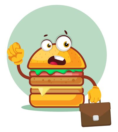 Burger is carrying a business bag, illustration, vector on white background. Ilustração