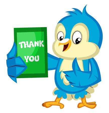 Blue bird is holding a thank you card, illustration, vector on white background. 向量圖像