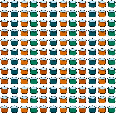 Multicolor saucepan wallpaper, illustration, vector on white background.