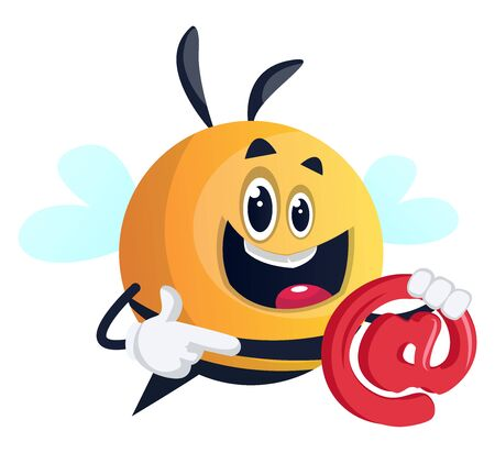 Bee holding e-mail symbol, illustration, vector on white background.