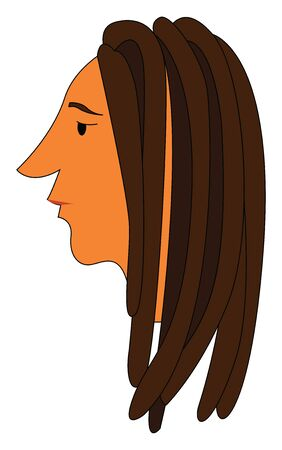 A brown man with dreadlocks hair, vector, color drawing or illustration.