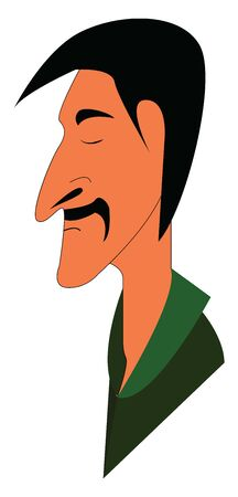 A man in green shirt with eyes closed and a black mustache, vector, color drawing or illustration. Ilustração