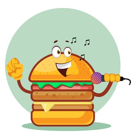 Singing burger is holding a microphone, illustration, vector on white background. Ilustração