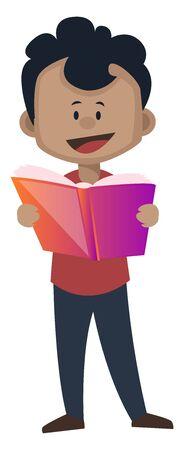El muchacho está leyendo un libro, ilustración, vector sobre fondo blanco.