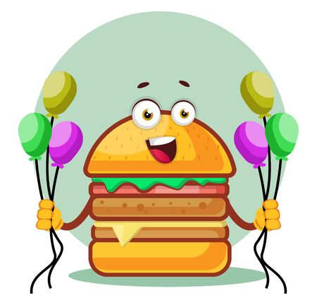 Smiling burger is holding balloons, illustration, vector on white background. Archivio Fotografico - 132792604