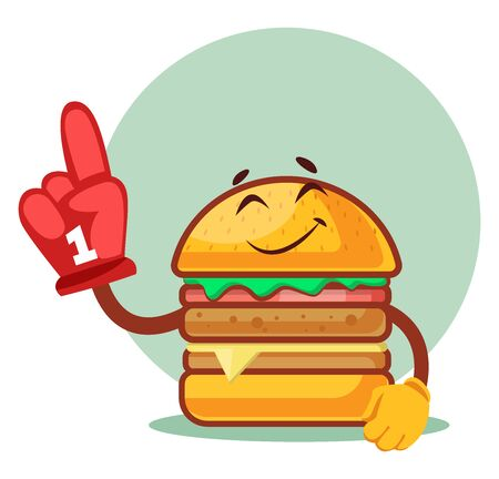Burger wearing cheering red glove, illustration, vector on white background. Archivio Fotografico - 132792606