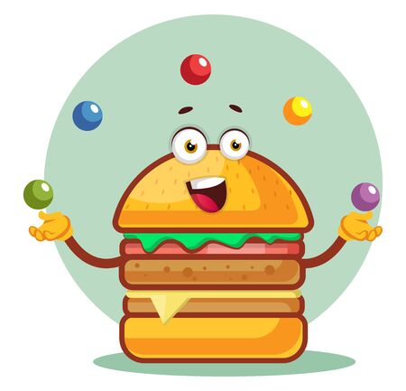 Burger is juggling with colored balls, illustration, vector on white background. Illustration