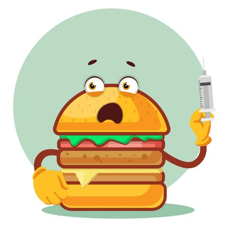 Burger is holding a syringe, illustration, vector on white background.