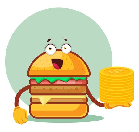 Burger is holding a pile of nickels, illustration, vector on white background. Archivio Fotografico - 132800337