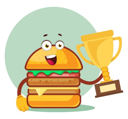 Burger is holding a trophy, illustration, vector on white background.