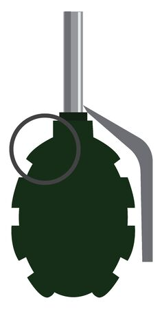 A green colored dangerous grenade, vector, color drawing or illustration.
