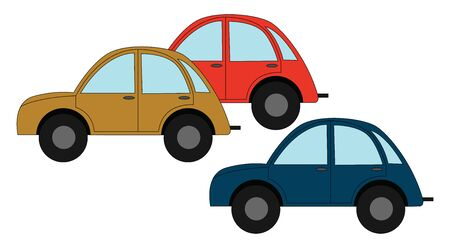 Yellow red and bluie car, illustration, vector on white background.