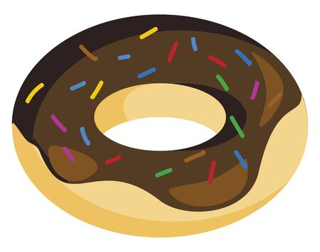 A delicious doughnut with chocolate cream and colorful candy toppings, vector, color drawing or illustration.