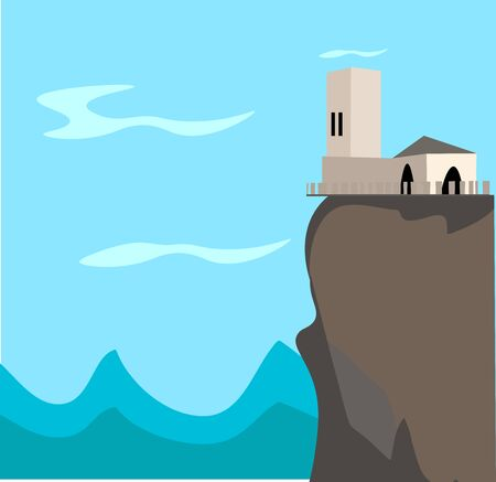 House on top of the mountain. illustration, vector on white background.