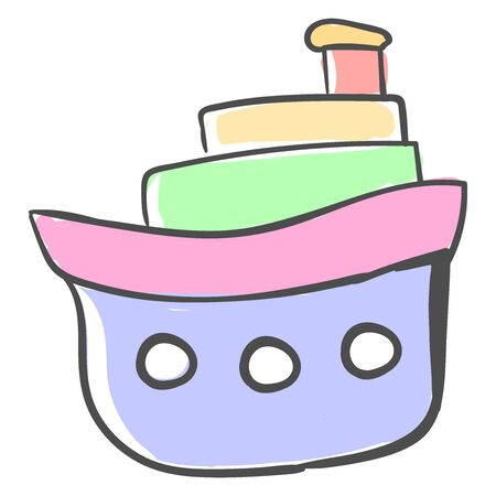Multicolor boat, illustration, vector on white background. Stock Illustratie