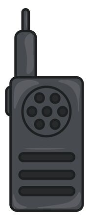 A smart black walkie talkie, vector, color drawing or illustration.