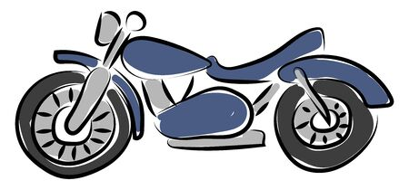 Blue motorcycle, illustration, vector on white background