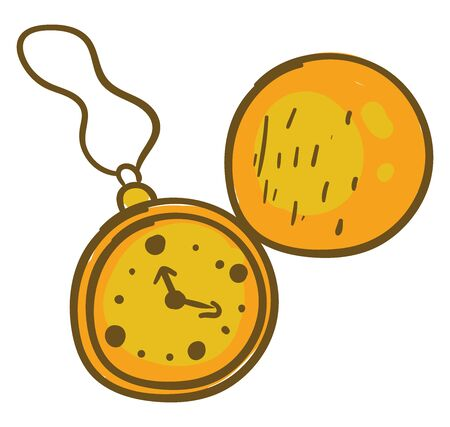 Gold chain watch, illustration, vector on white background.