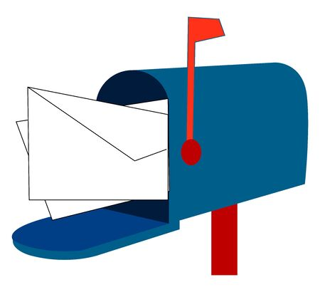 Blue mail box, illustration, vector on white background.