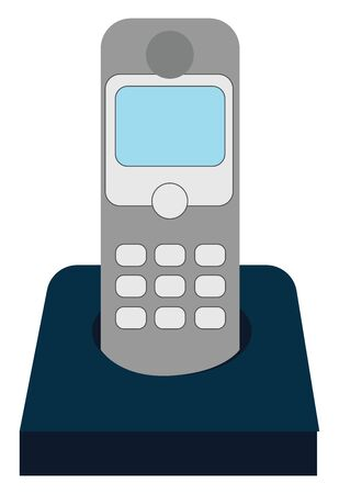 Home phone on base, illustration, vector on white background.