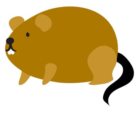 Fat brown mouse, illustration, vector on white background. Illusztráció