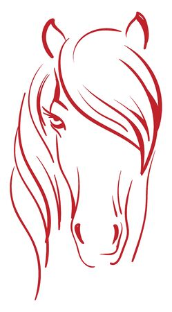 A silhouette of a red colored horse, vector, color drawing or illustration.