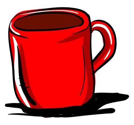 Red cup of coffee, illustration, vector on white background. 向量圖像