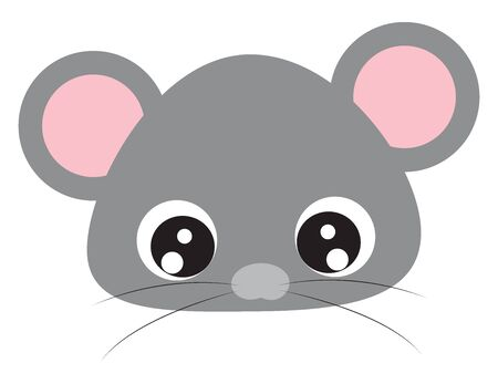 Cute baby mouse, illustration, vector on white background. Illustration