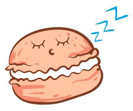 Sleeping macaron, illustration, vector on white background. 矢量图像